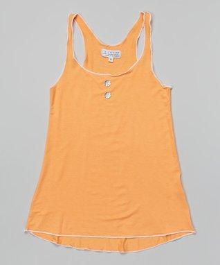 Orange Flower-Button Tunic - Girls