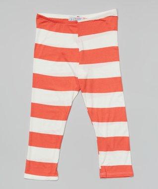 Coral Big Stripe Leggings - Girls