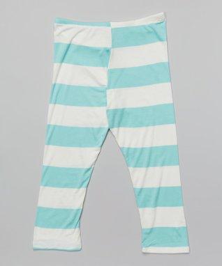 Seafoam Big Stripe Leggings - Girls