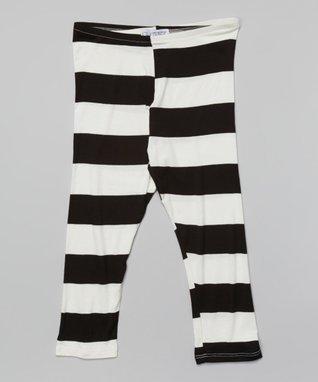 Black Big Stripe Leggings - Girls