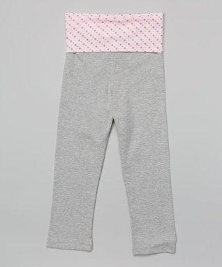 Heather Gray & Pink Polka Dot Leggings - Girls