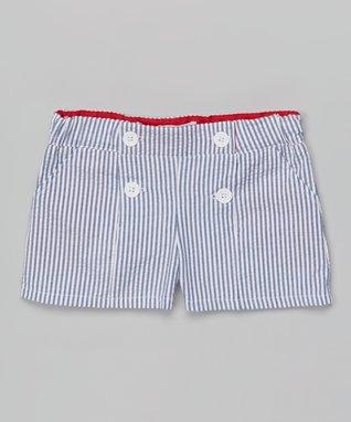 Blue Seersucker Shorts - Girls