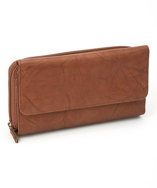 Mundi Brown Checkbook Clutch