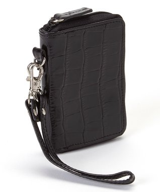 Gemelli International Black Crocodile Mini Zip Wallet