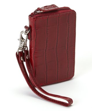 Gemelli International Red Crocodile Mini Zip Wallet