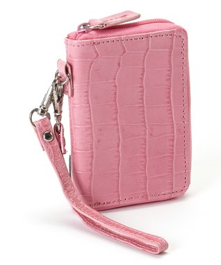 Gemelli International Pink Crocodile Mini Zip Wallet