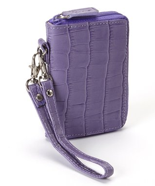 Gemelli International Purple Crocodile Mini Zip Wallet