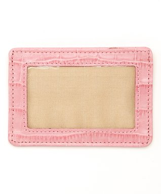 Gemelli International Pink Crocodile Window Card Case