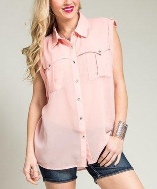 Pink Pocket Sleeveless Button-Up - Plus