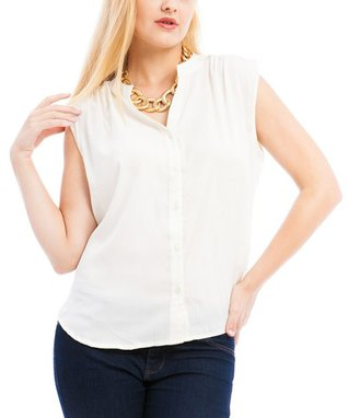 Red & White Tie-Front Top - Plus