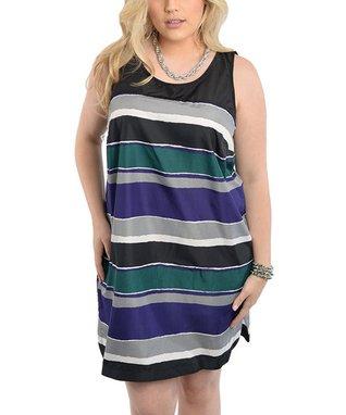 Black & Purple Stripe Sleeveless Shift Dress - Plus