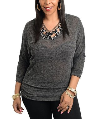 Charcoal Sheer Embroidered Top - Plus