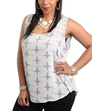 Black & Tan Stripe Sleeveless Shift Dress - Plus