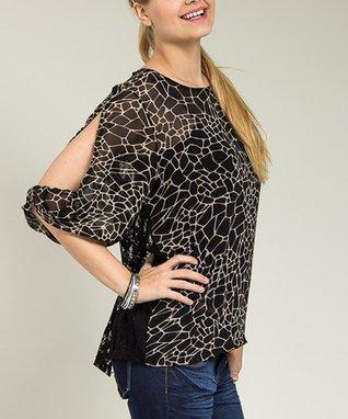 Black & Beige Sheer Lace-Back Top - Plus
