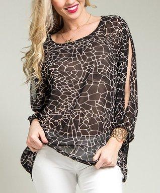 Black & Pink Sheer Lace-Back Top - Plus