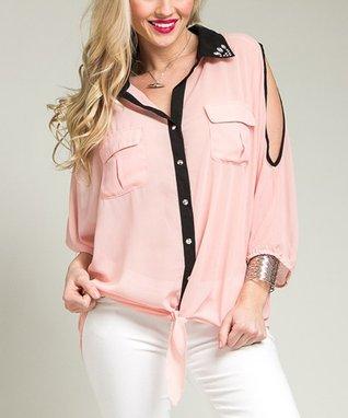 Pink Cutout Button-Up Top - Plus