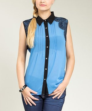 Blue Sheer Lace-Panel Sleeveless Button-Up - Plus