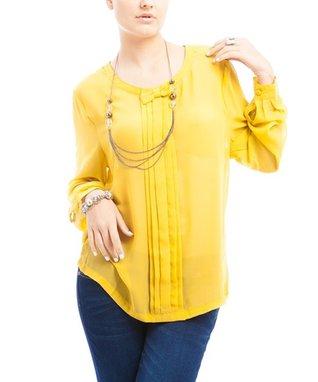 Mustard Pleated Long-Sleeve Top - Plus