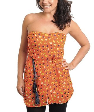 Orange Polka Dot Strapless Tunic - Plus