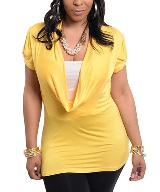 Yellow Short-Sleeve Cowl Neck Top - Plus