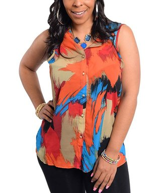 Blue & Orange Abstract Cutout Button-Up Top - Plus