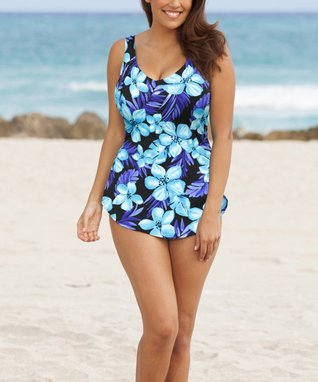 Blue Beach Belle Tahiti Sarong-Front One-Piece - Women & Plus