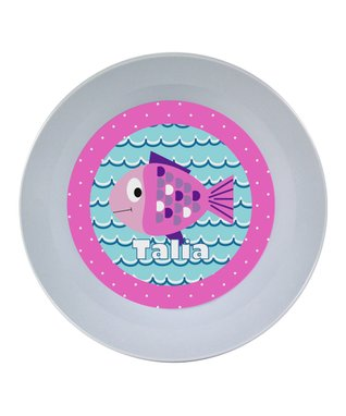 Pink Fish Personalized Plate