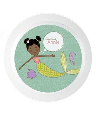 Black-Hair Mermaid Personalized Plate
