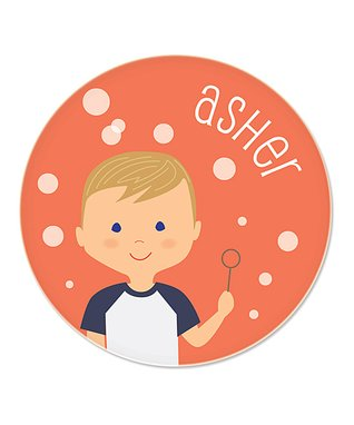 Blonde Boy & Bubbles Personalized Plate