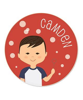Dark Brown-Haired Boy & Bubbles Personalized Plate