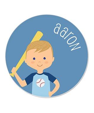 Blonde Boy & Baseball Personalized Plate