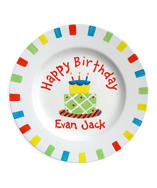 Little Worm Birthday Cake Personalized Plate