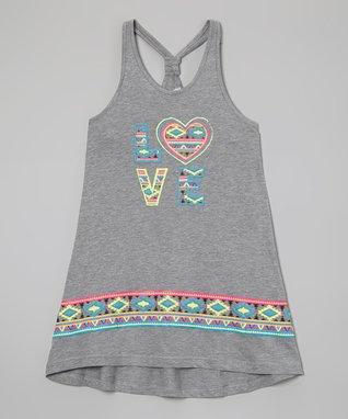 Gray 'Love' Tribal Dress - Girls