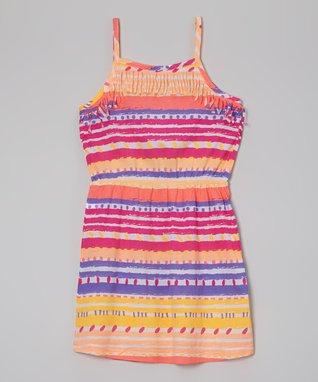 Magenta & Orange Stripe Fringe Dress - Girls