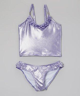 Lilac Foil Ruffle Tankini - Girls