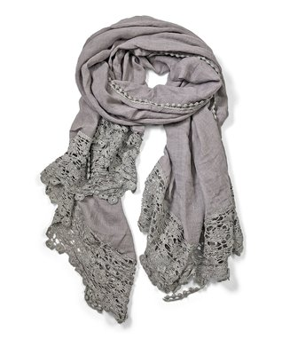 East Cloud Gray Sheer Paisley Embroidered Scarf