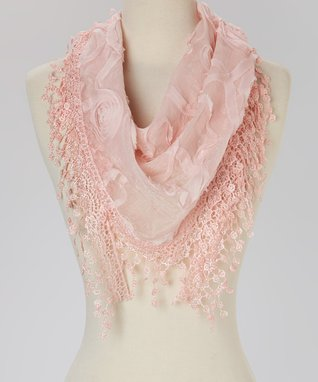 Light Pink Floral Silk-Blend Scarf