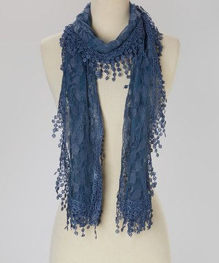 Dark Blue Floral Scarf