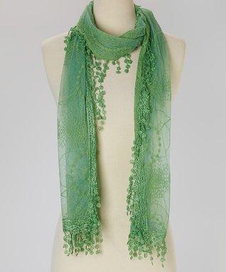 Green Floral Fringe Scarf
