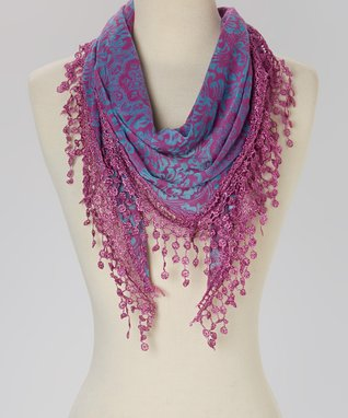 Purple Floral Fringe Scarf