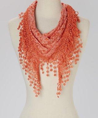 Orange Floral Fringe Scarf