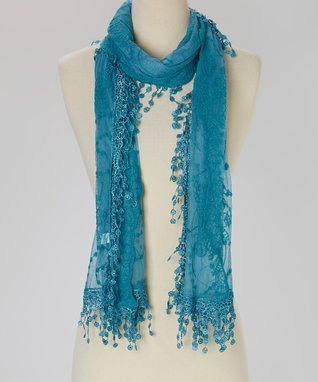 Blue Embroidered Lace Scarf