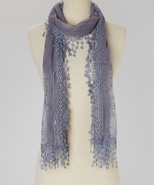 Gray Embroidered Lace Scarf