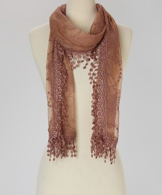 Orange Embroidered Lace Scarf