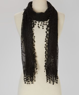 Black Embroidered Lace Scarf