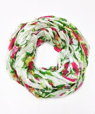 Light Gray Floral Silk-Blend Scarf