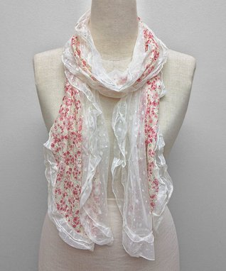 East Cloud White & Pink Floral Textured Scarf