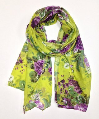 East Cloud Green & Purple Floral Scarf