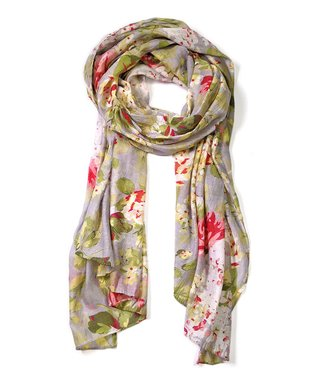 East Cloud Gray & Pink Floral Scarf
