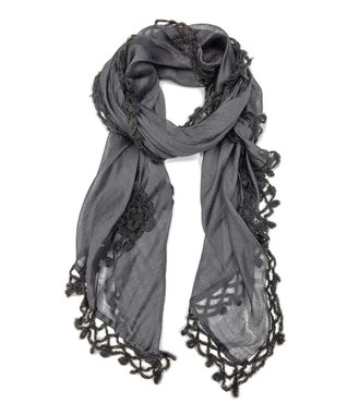 East Cloud Charcoal Crocheted Floral Silk-Blend Scarf
